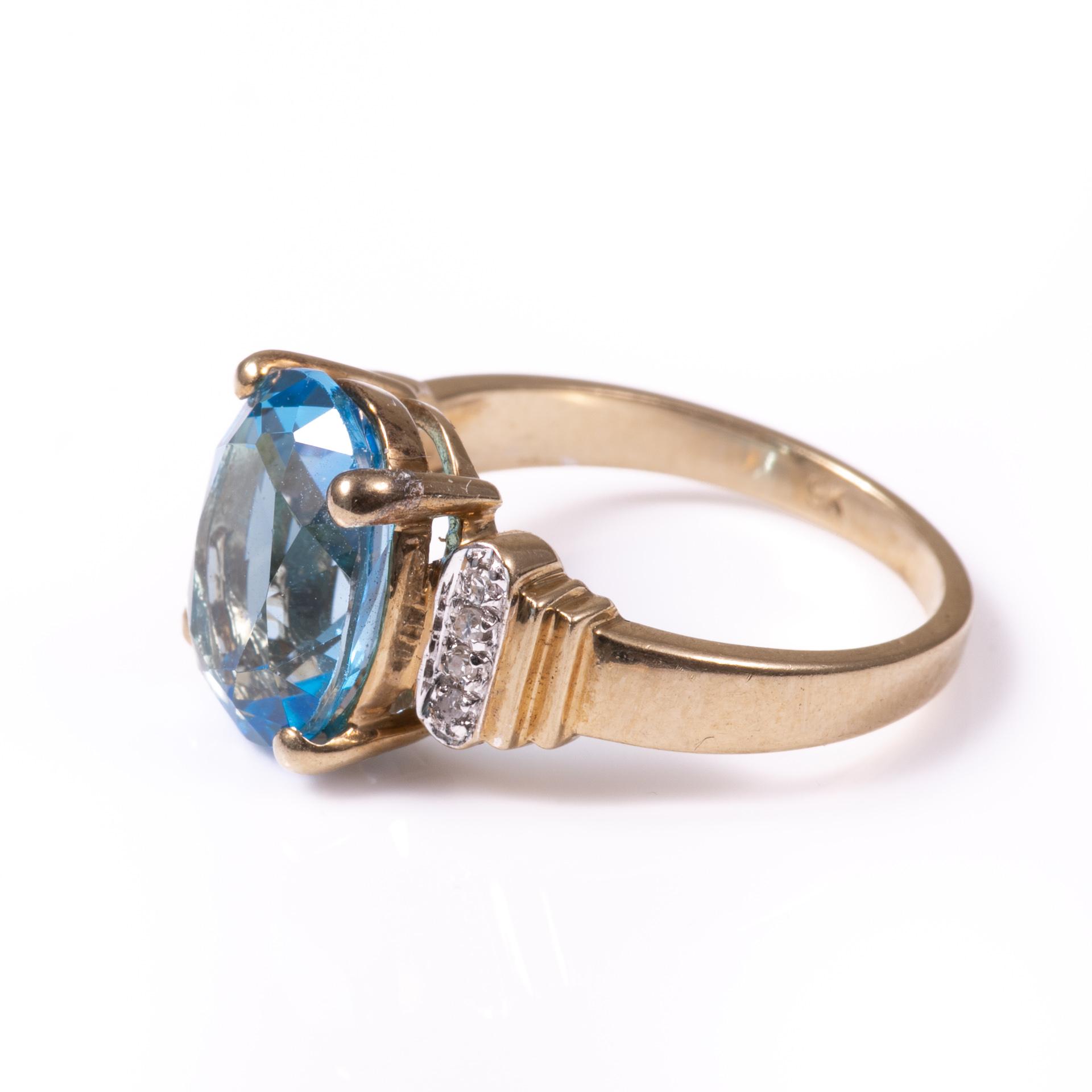 9ct Gold 4.40ct Blue Topaz & Diamond Ring - Image 3 of 6