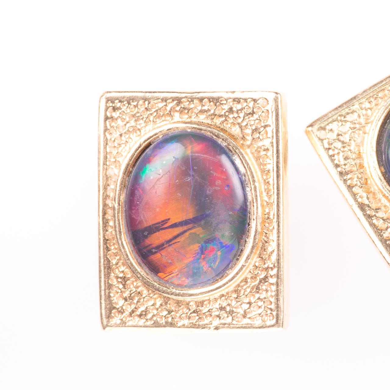 14ct Gold Gentleman's Black Lightning Opal Cufflinks - Image 3 of 6