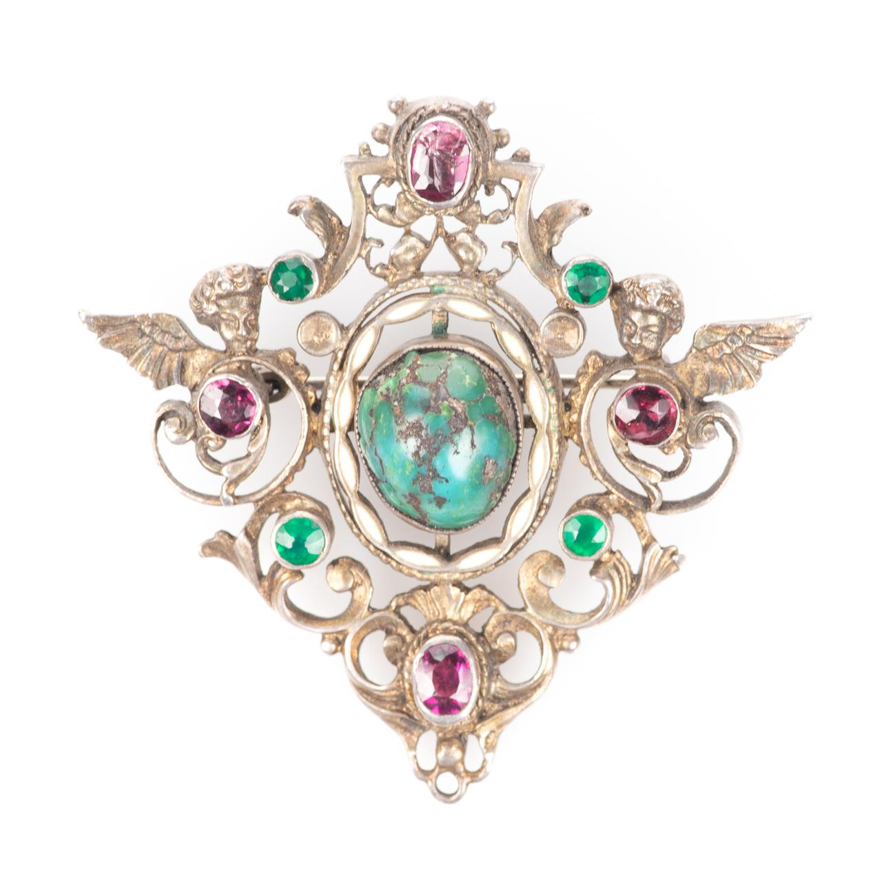 Austro-Hungarian 935 Silver Emerald, Amethyst & Turquoise Brooch