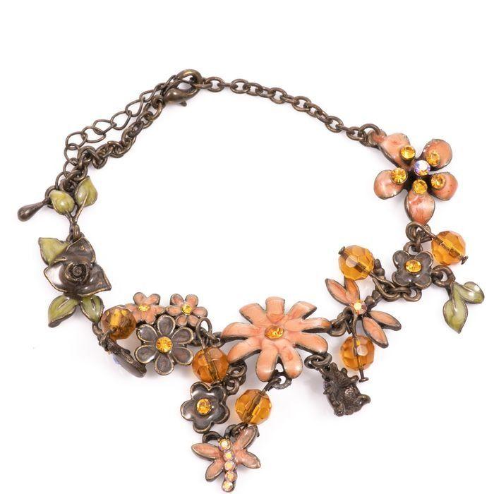 Bronze & Enamel Floral Bracelet