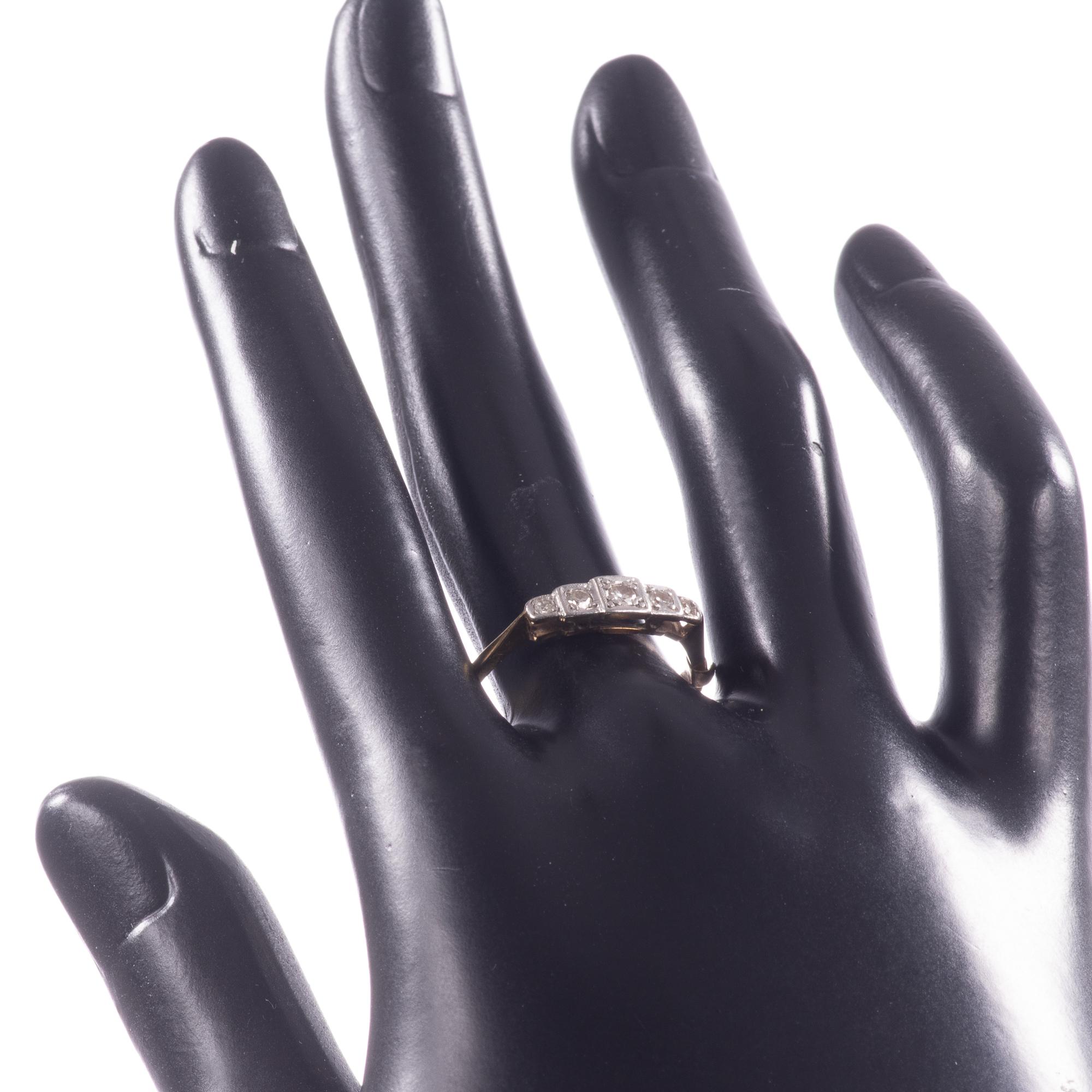 18ct Gold & Platinum Art Deco Diamond Ring - Image 9 of 9
