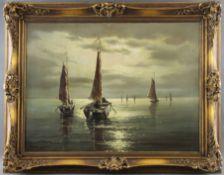 """Walter Dettmann (1914 - 1984) - Öl auf Leinwand, """"Fischerboote im seichten Wasser unter Vollmond"""""""