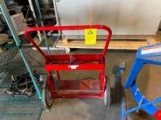 red oxy acetylene tank cart