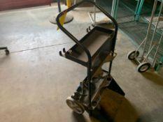 black oxy acetylene tank cart