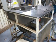 stainless steel hopper, 54 in. x 36 in. x 24 in., with 30 in. x 12 in. vibratory feeder on bottom