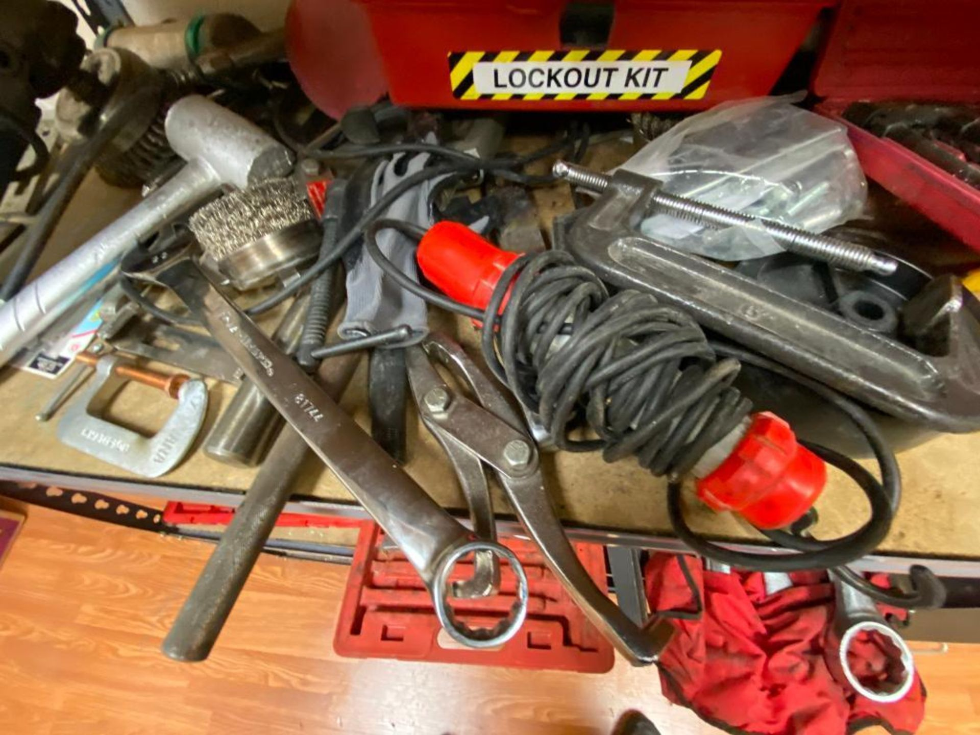 various tools includes bits, large wrenches, lockout tagout kit, grinder - Image 10 of 18