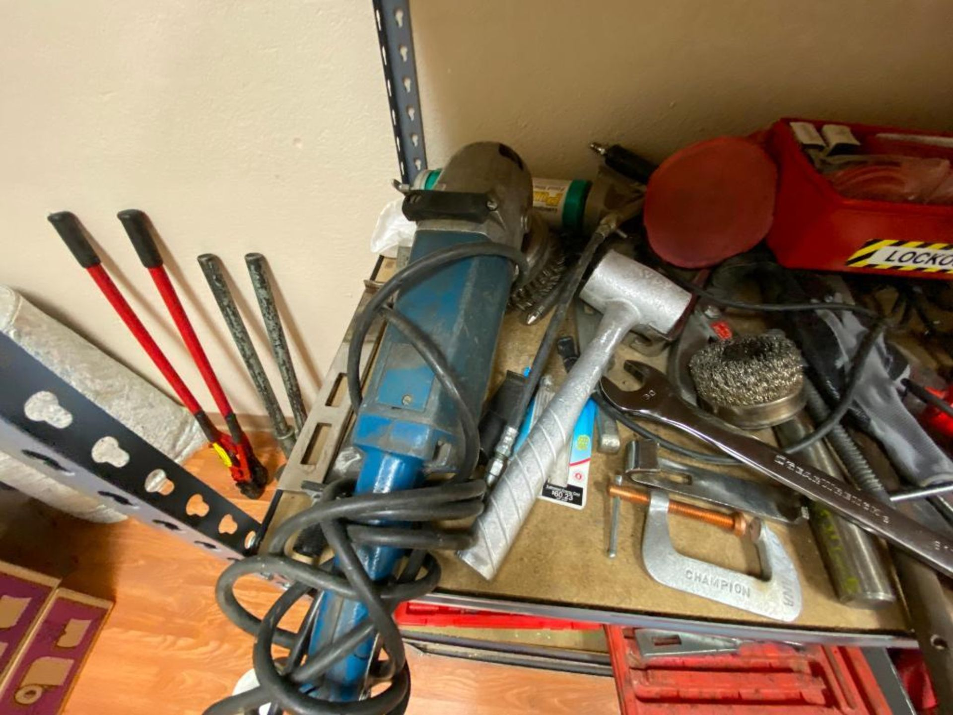 various tools includes bits, large wrenches, lockout tagout kit, grinder - Image 11 of 18