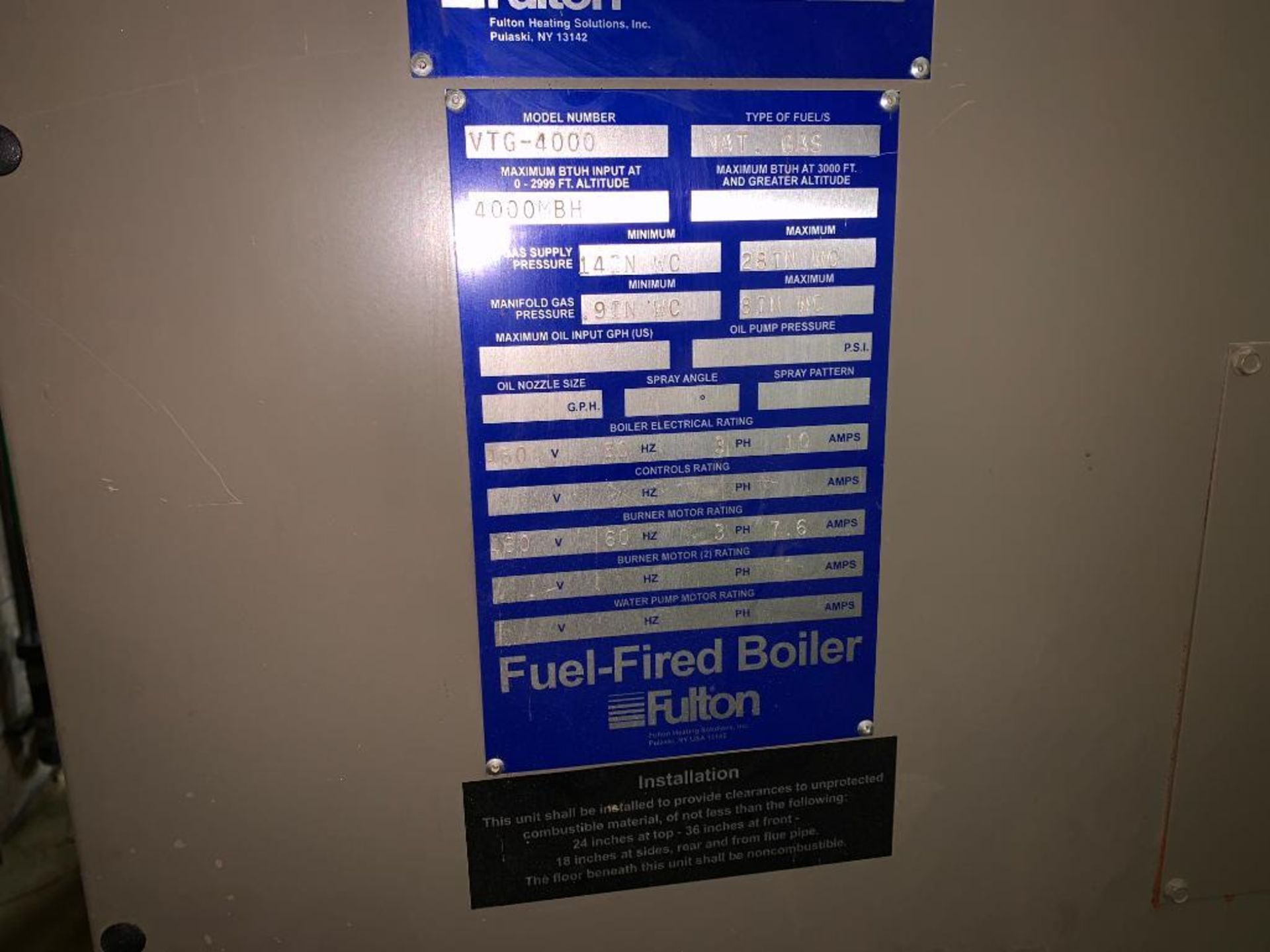 2010 Fulton fuel fired hot water boiler - Image 14 of 15