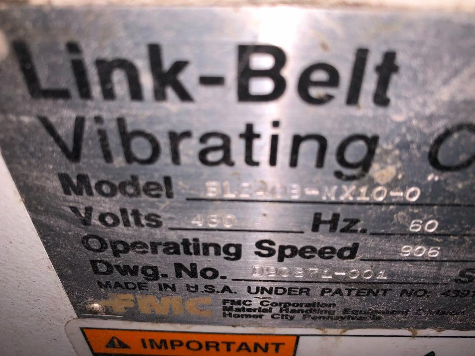 1993 Link-Belt stainless steel vibratory scalping conveyor - Image 5 of 10