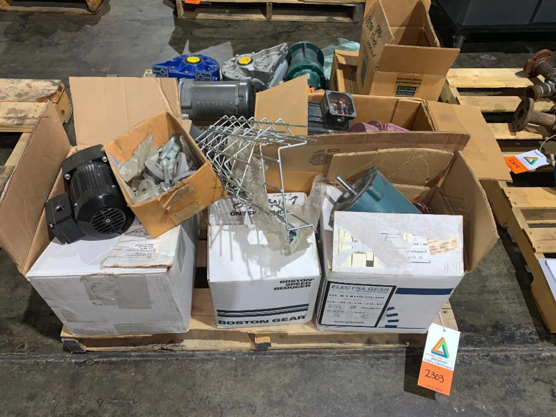pallet of used motors and drives