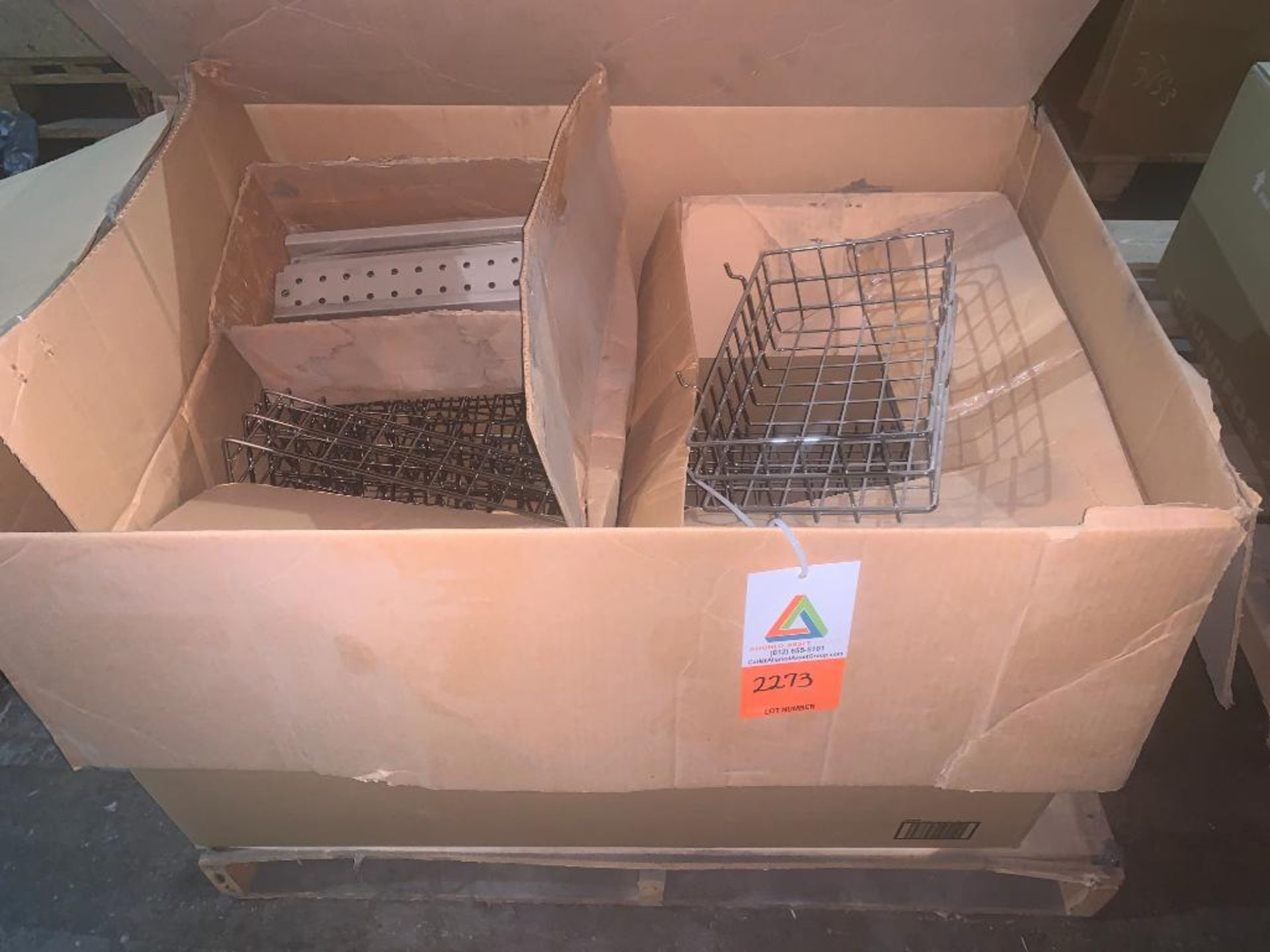 pallet of wire baskets and wire parts