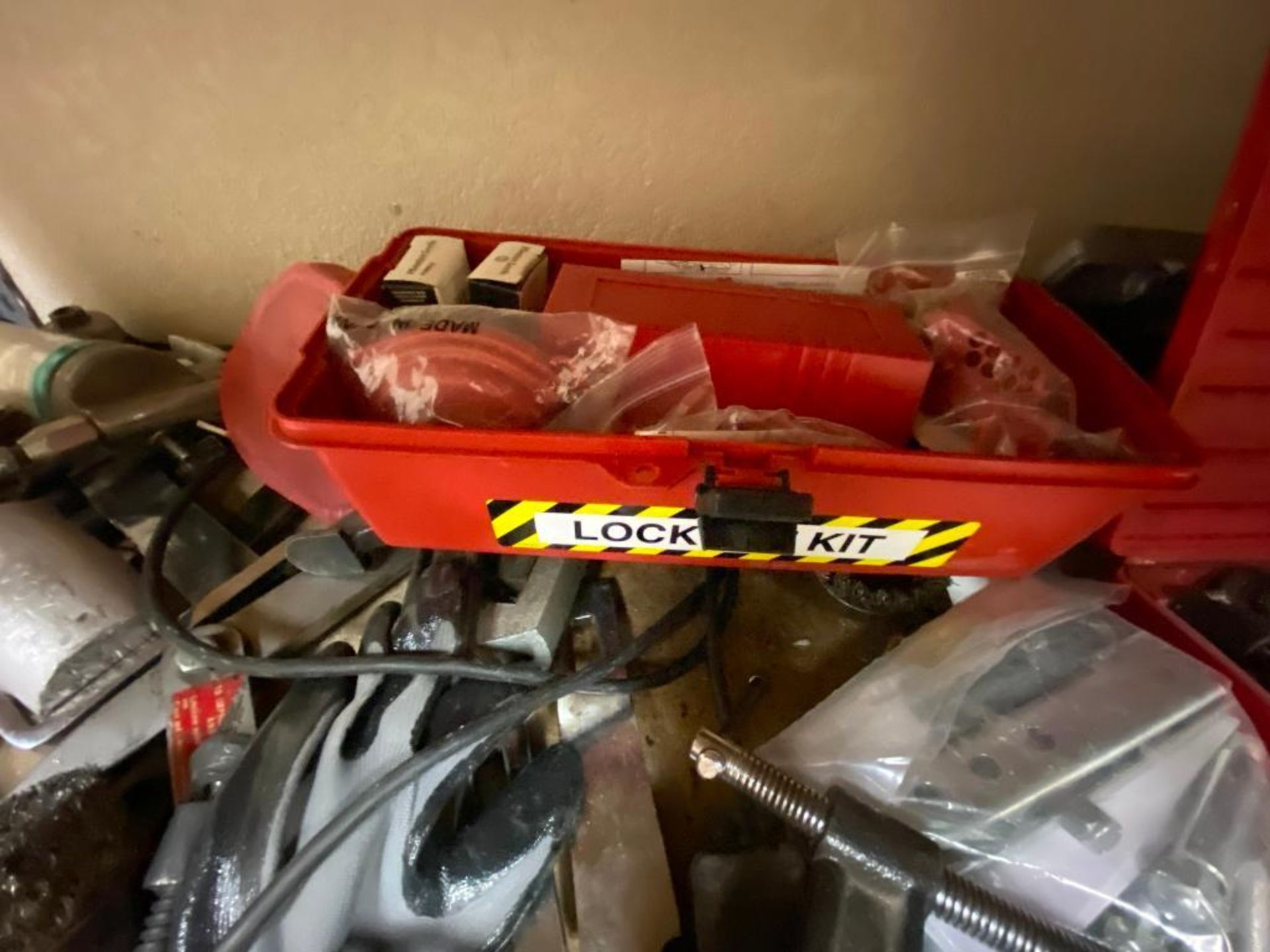 various tools includes bits, large wrenches, lockout tagout kit, grinder - Image 9 of 18