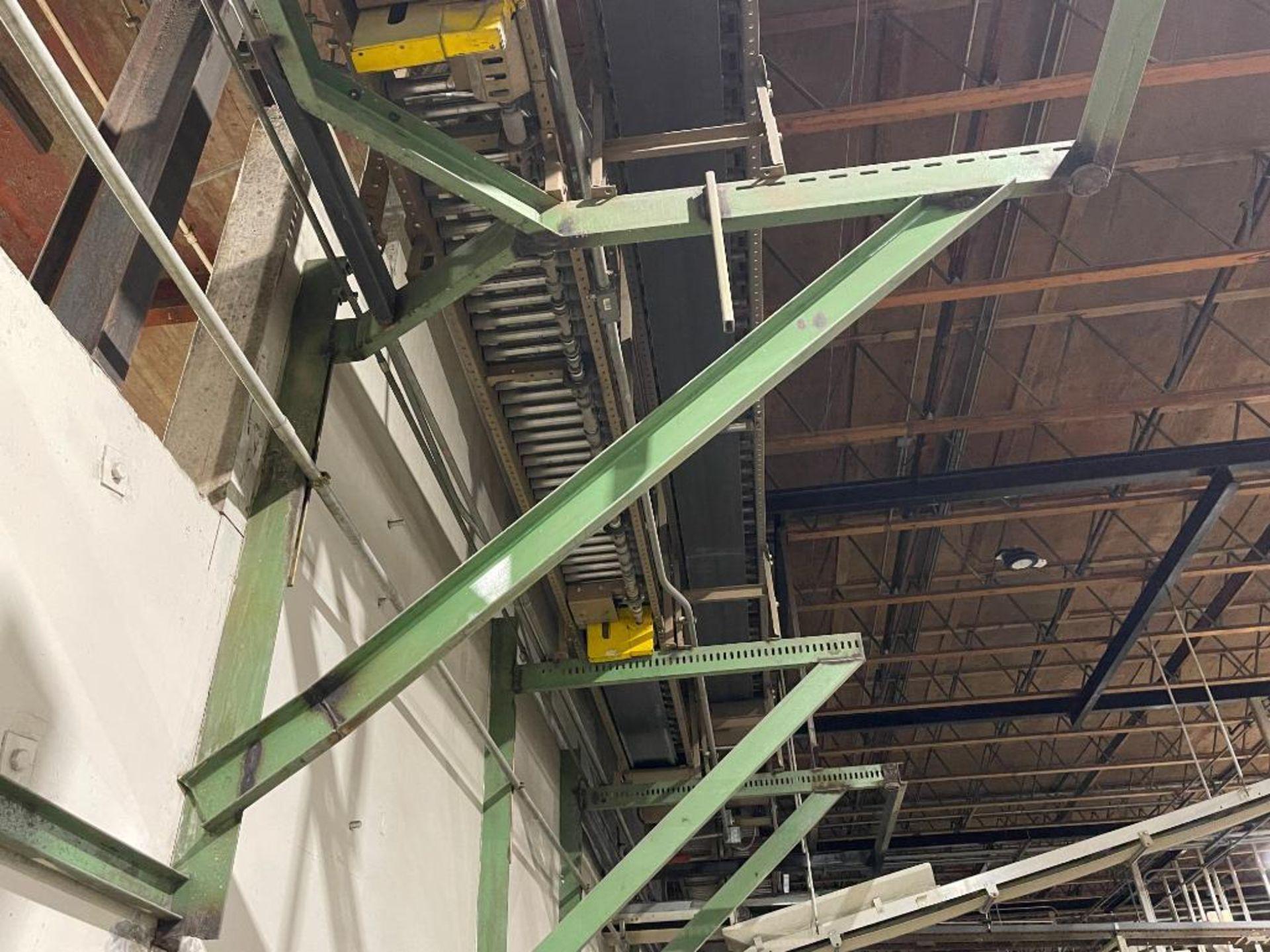 270 ft. of mild steel power roller and power belt overhead conveyor - Image 6 of 12