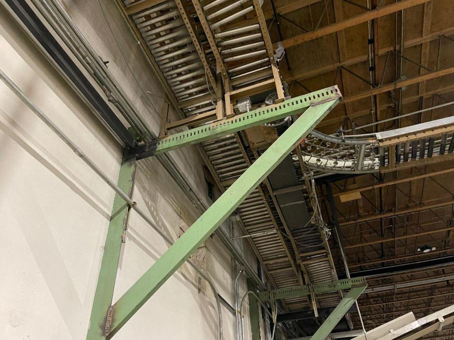 270 ft. of mild steel power roller and power belt overhead conveyor - Image 9 of 12