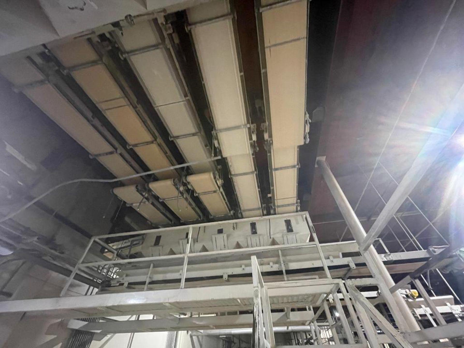 5 overhead conveyors, white rubber belt