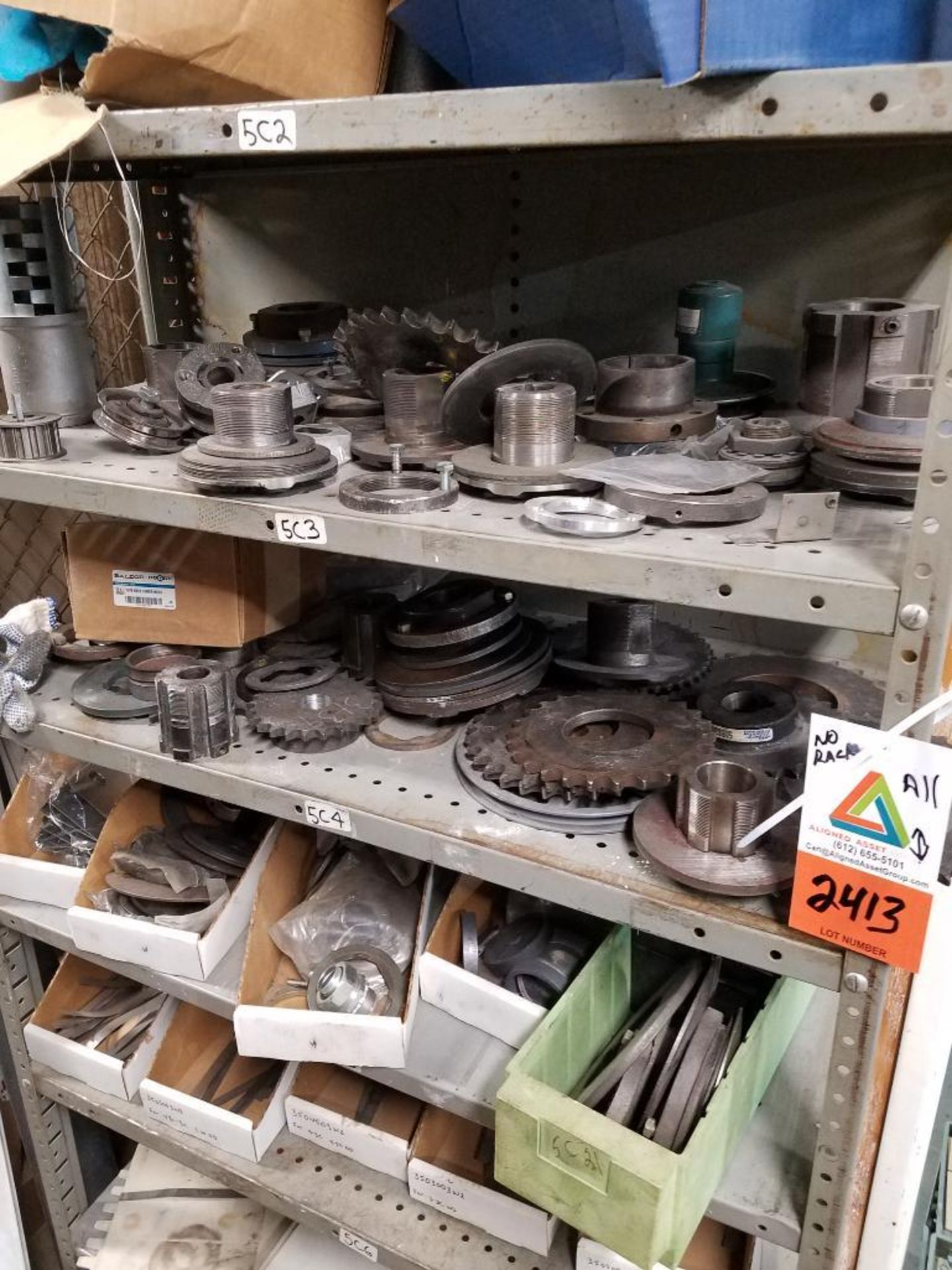 shelf, sprockets, gears, belts, and various parts - Image 4 of 5