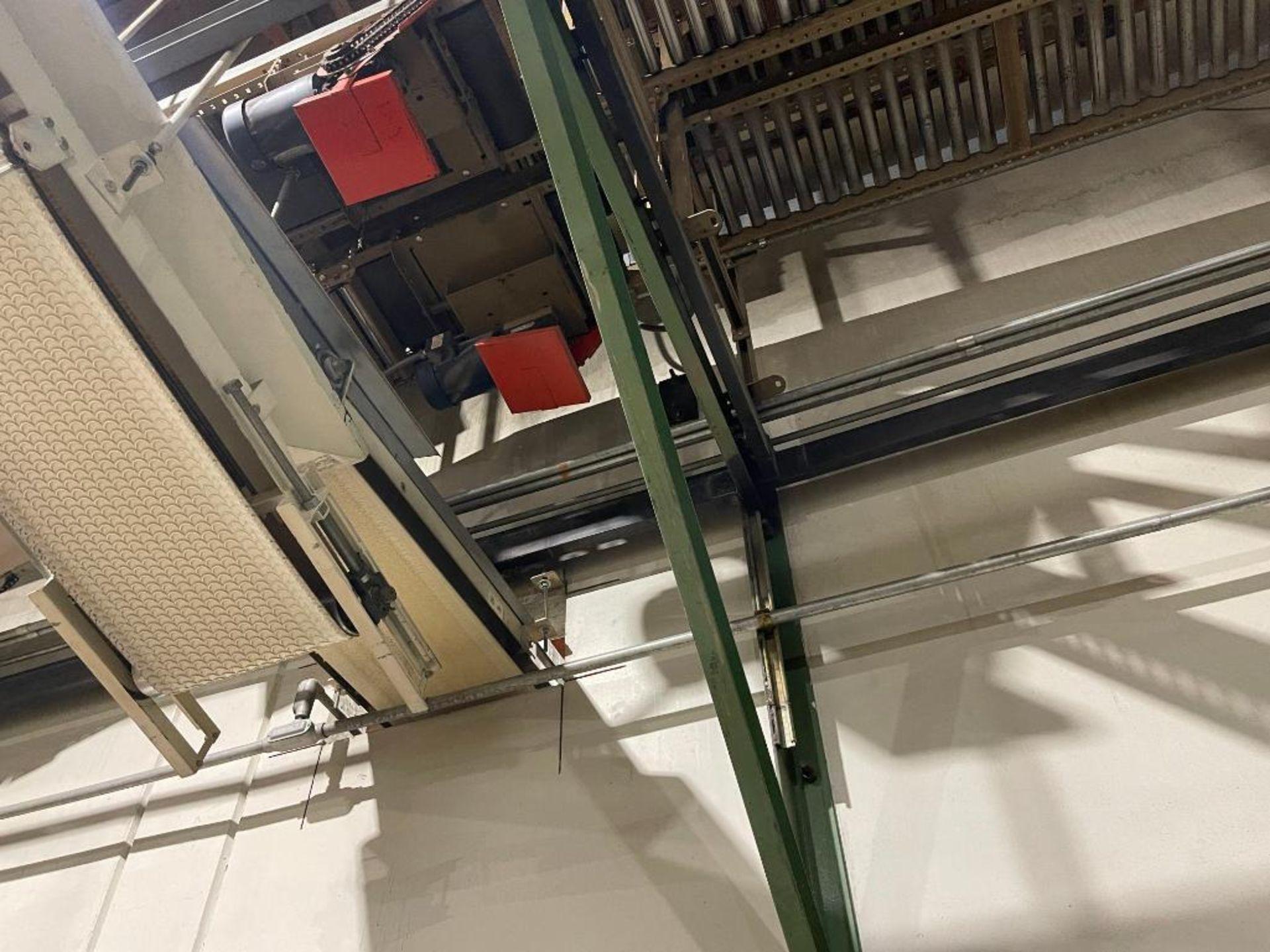 270 ft. of mild steel power roller and power belt overhead conveyor - Image 8 of 12