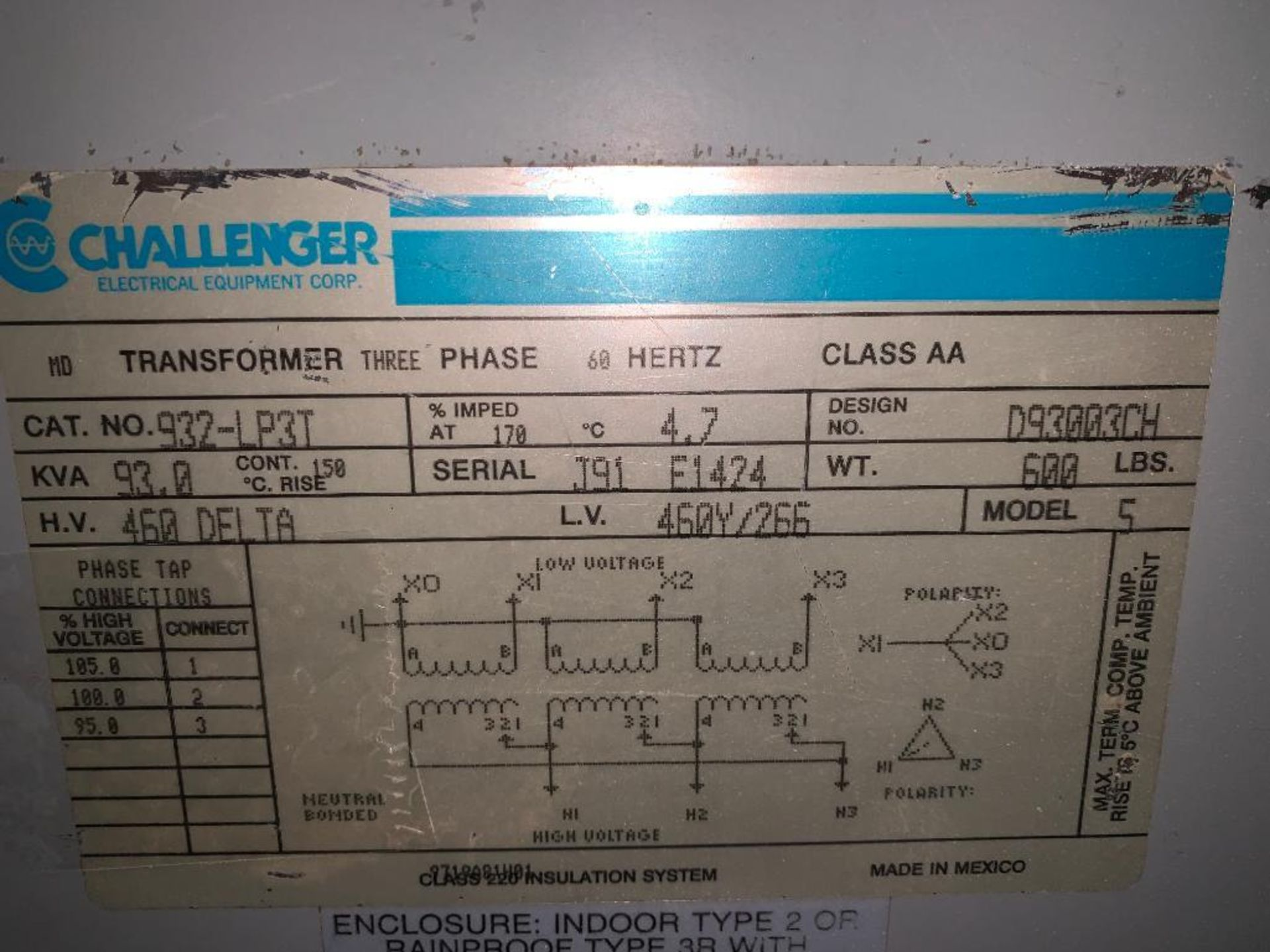 Challenger 93KVA transformer - Image 2 of 5