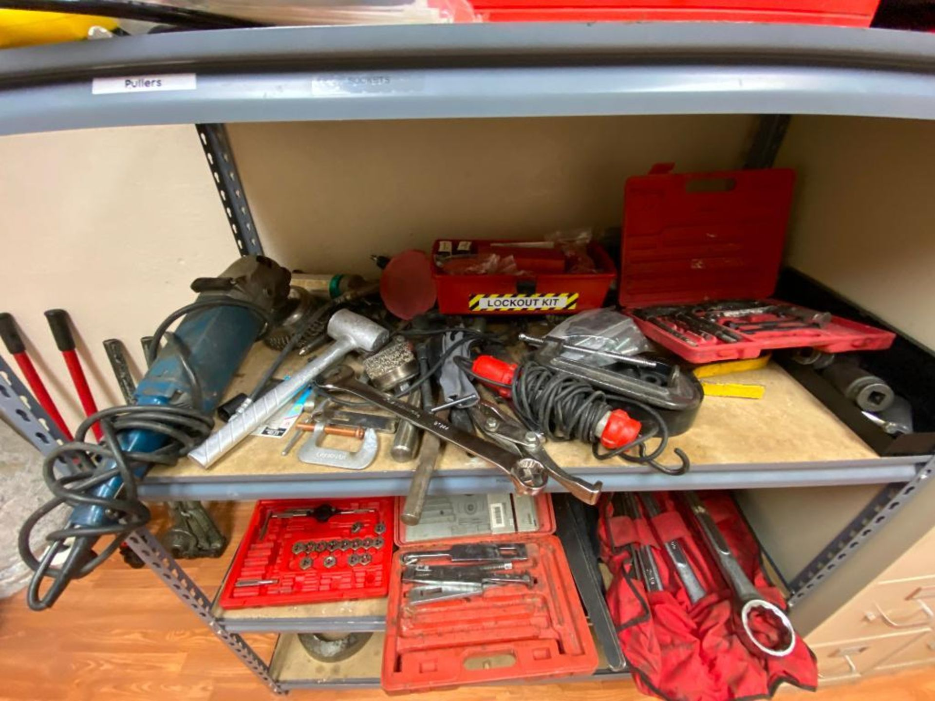 various tools includes bits, large wrenches, lockout tagout kit, grinder - Image 7 of 18
