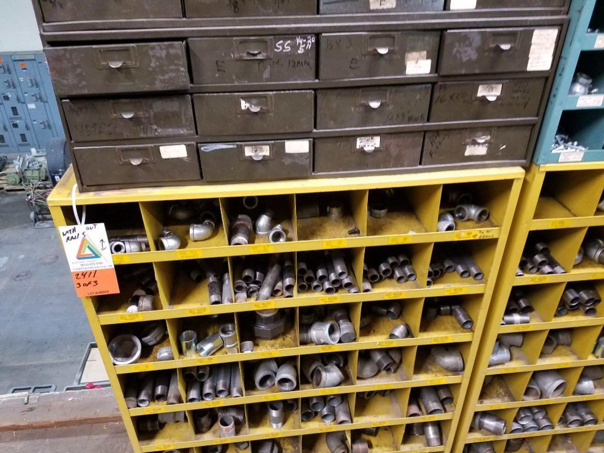 various nuts, bolts, screws, and pipes, storage units not included - Image 9 of 10