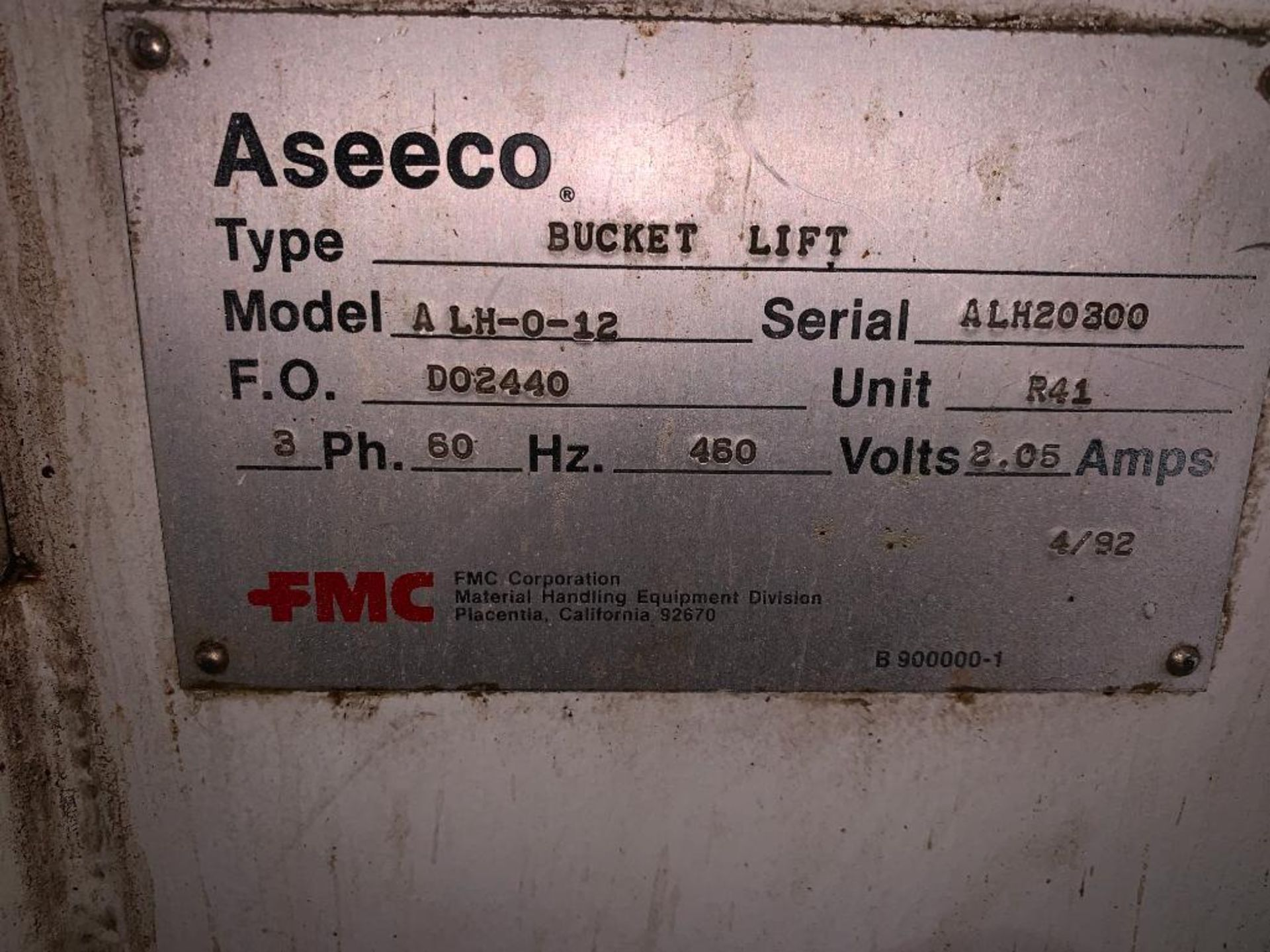 1992 Aseeco overlapping bucket incline conveyor, model ALH-0-12, Z-shape - Image 2 of 14