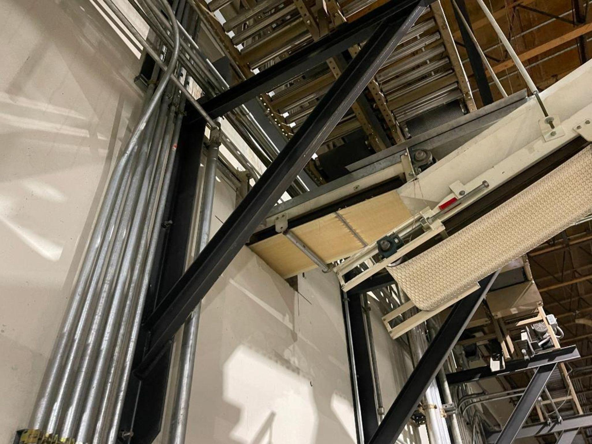 270 ft. of mild steel power roller and power belt overhead conveyor - Image 11 of 12