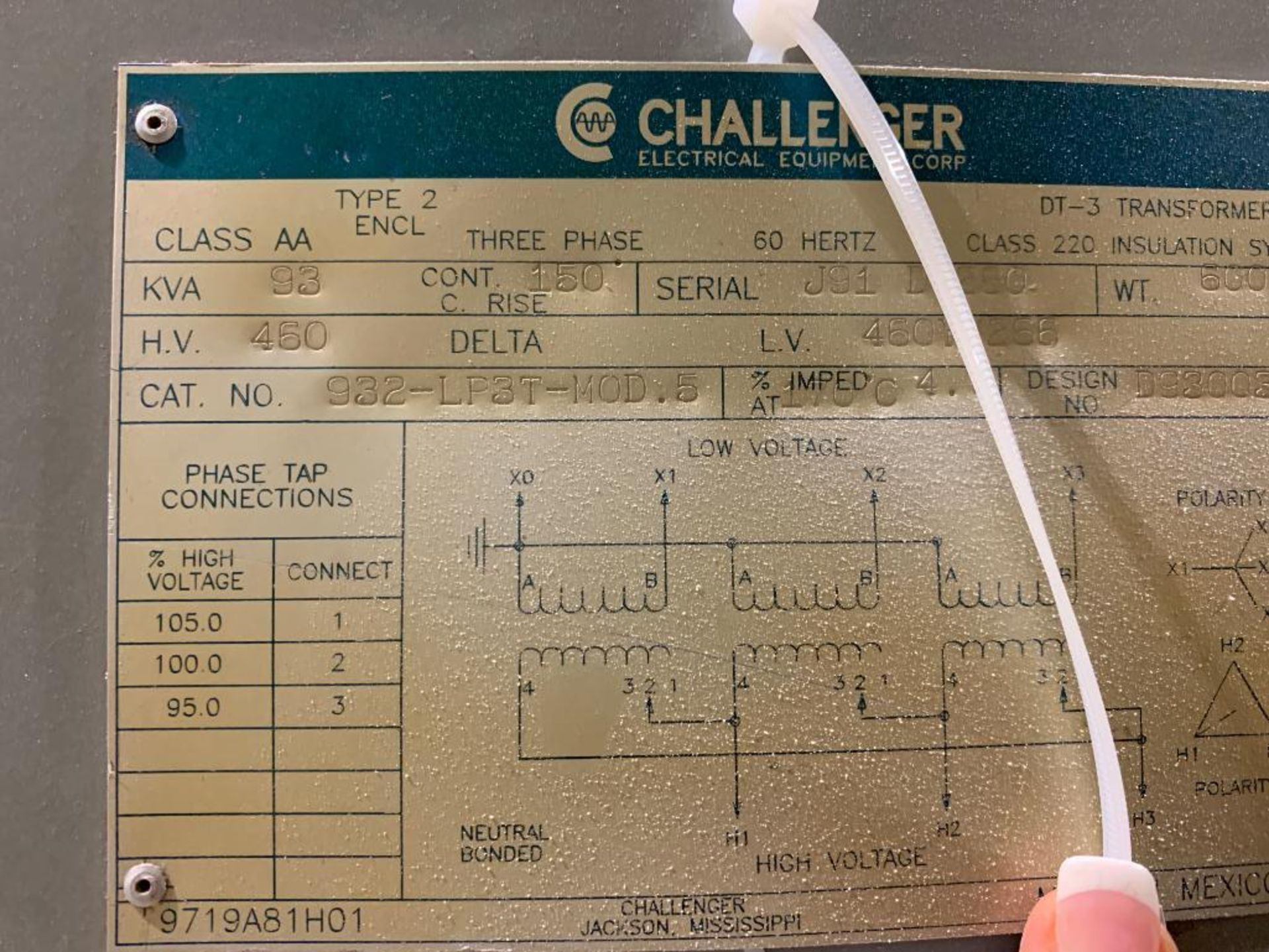 Challenger 93KVA transformer - Image 7 of 11