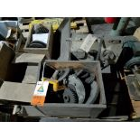 various replacement parts, motors, bearings, gears, and sprockets