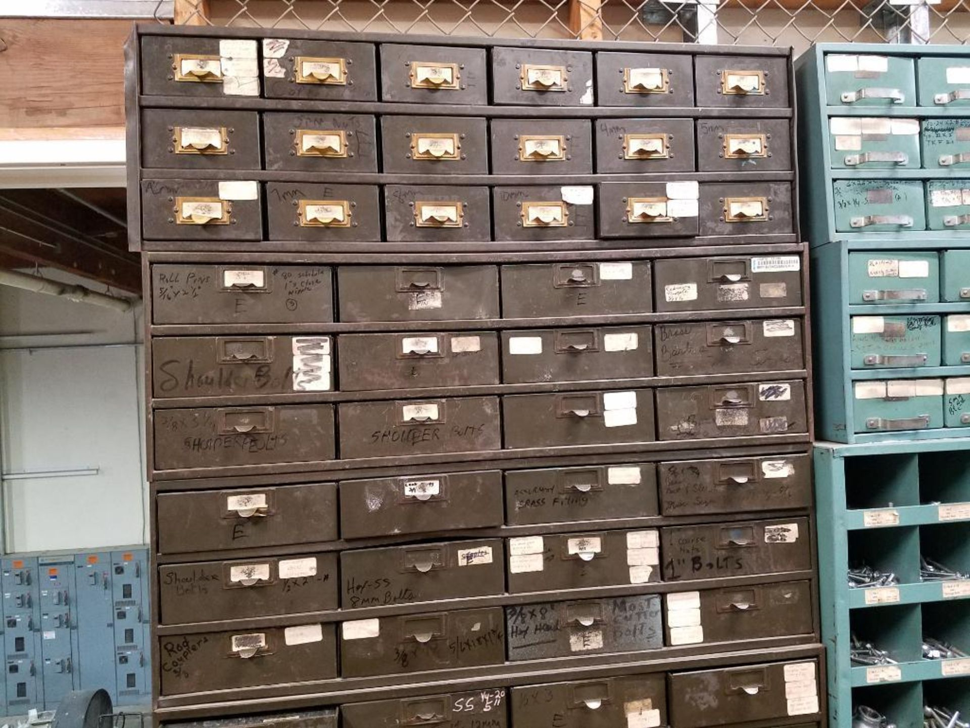 various nuts, bolts, screws, and pipes, storage units not included - Image 8 of 10