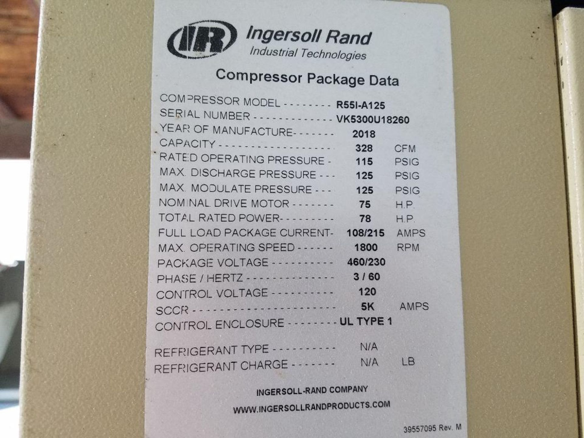 2018 Ingersoll Rand rotary screw air compressor - Image 5 of 10