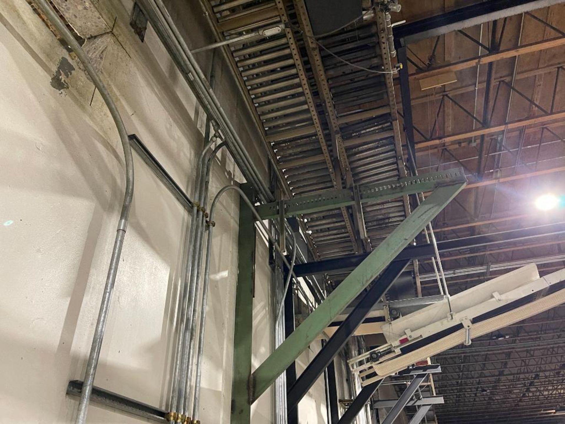 270 ft. of mild steel power roller and power belt overhead conveyor - Image 10 of 12