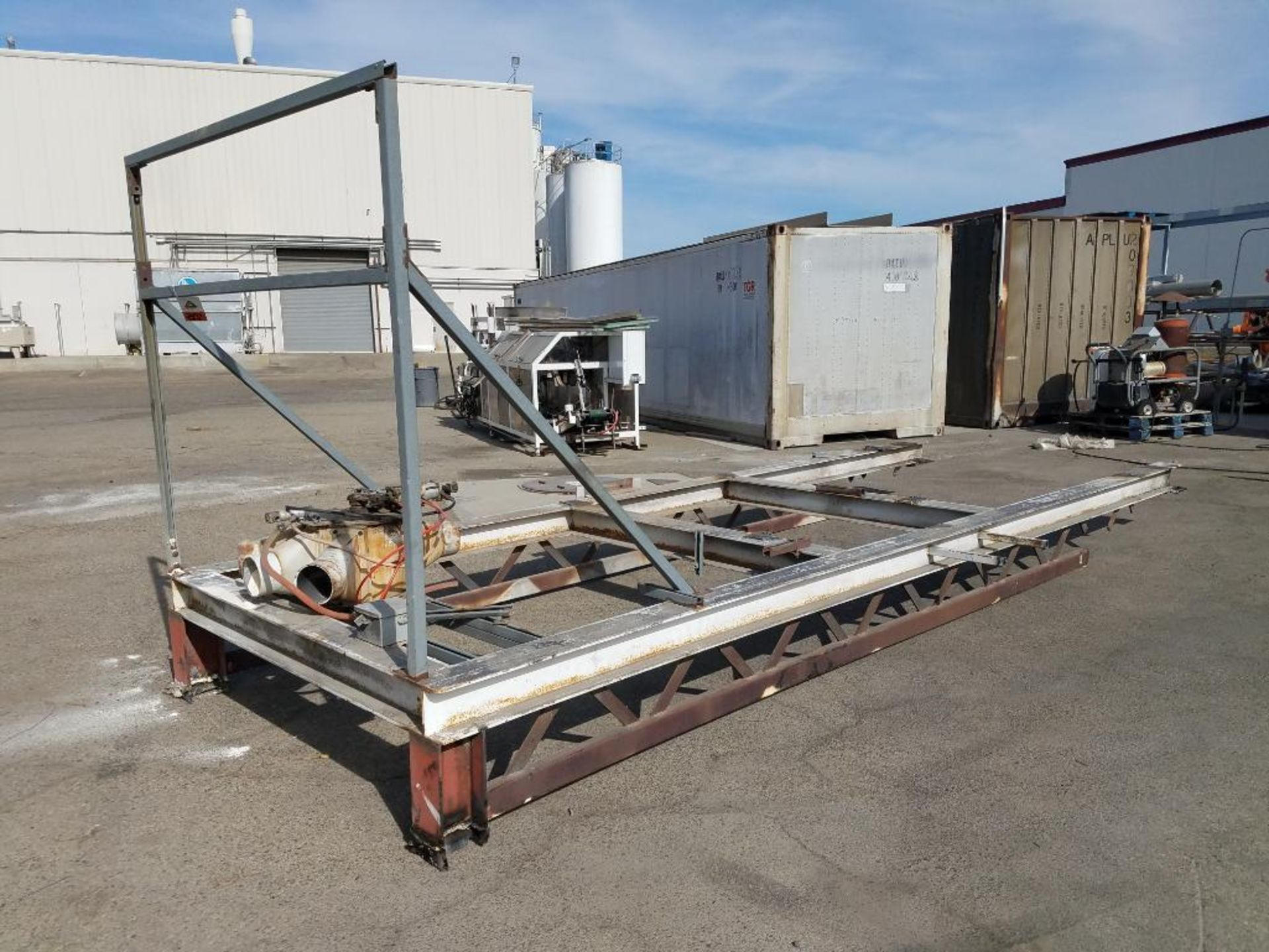 blower diverter with frame, aluminum mezzanine, steam washer, and Fallas cartoner