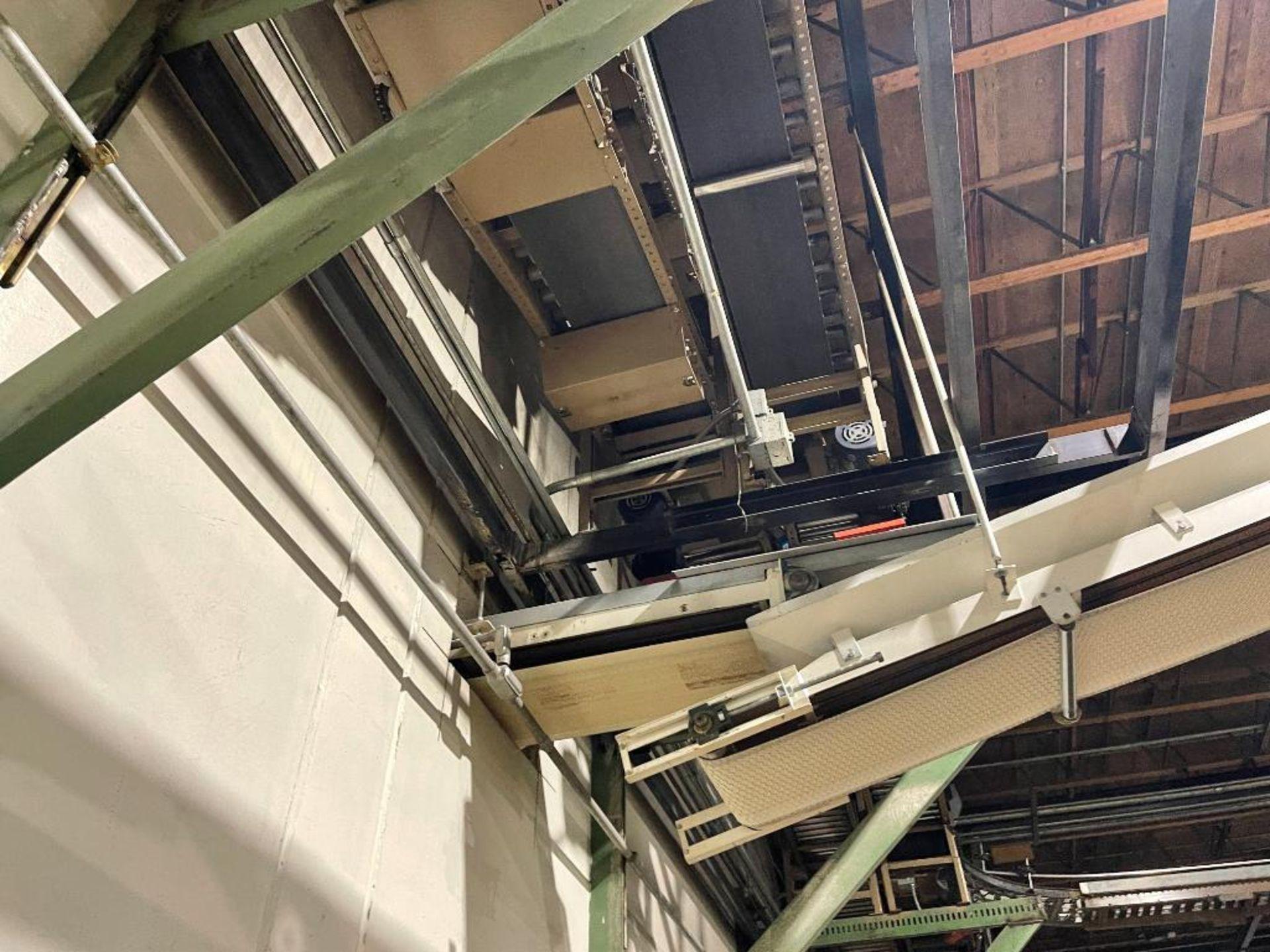 270 ft. of mild steel power roller and power belt overhead conveyor - Image 7 of 12