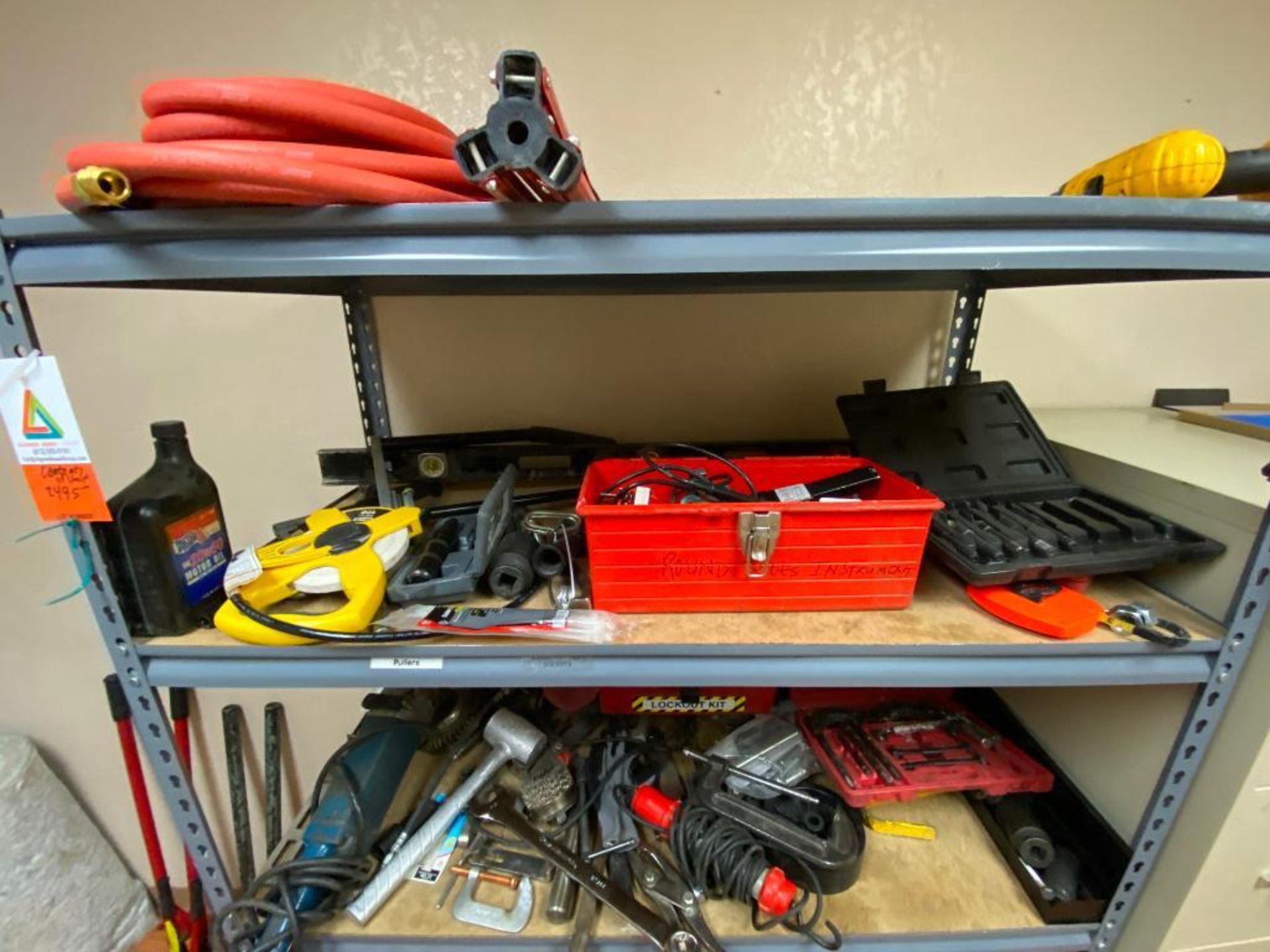 various tools includes bits, large wrenches, lockout tagout kit, grinder - Image 3 of 18