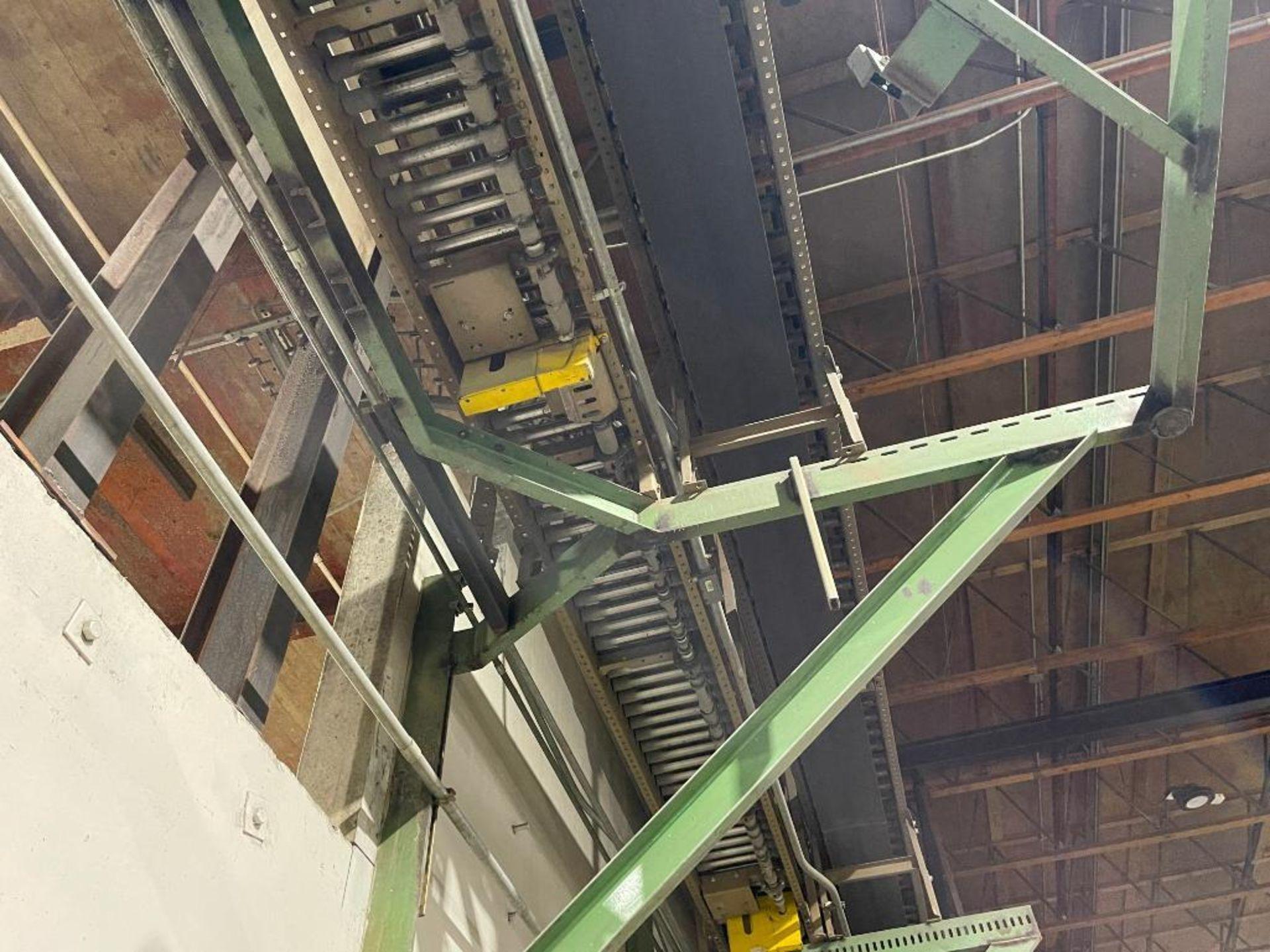 270 ft. of mild steel power roller and power belt overhead conveyor - Image 5 of 12