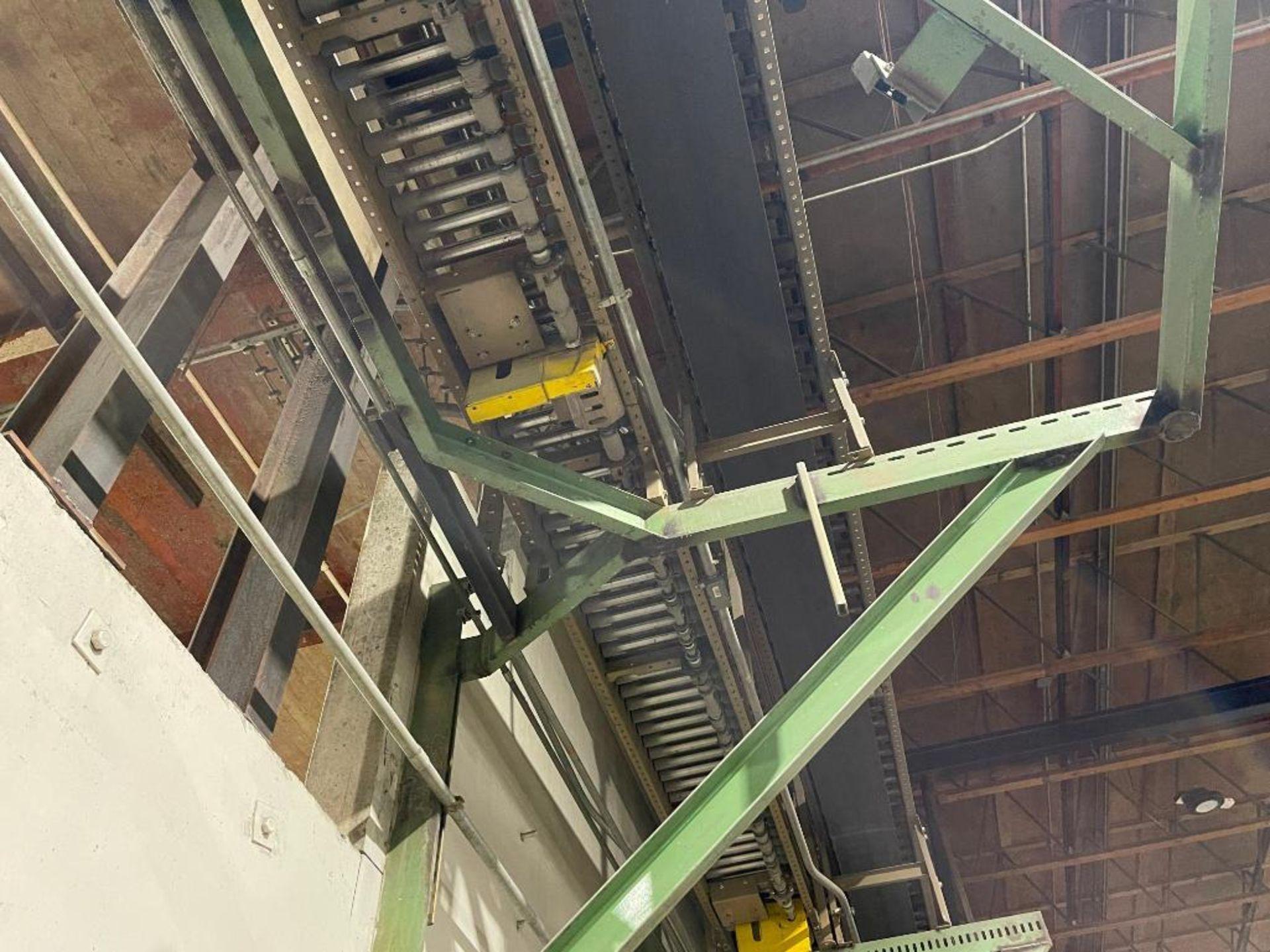 270 ft. of mild steel power roller and power belt overhead conveyor - Image 4 of 12