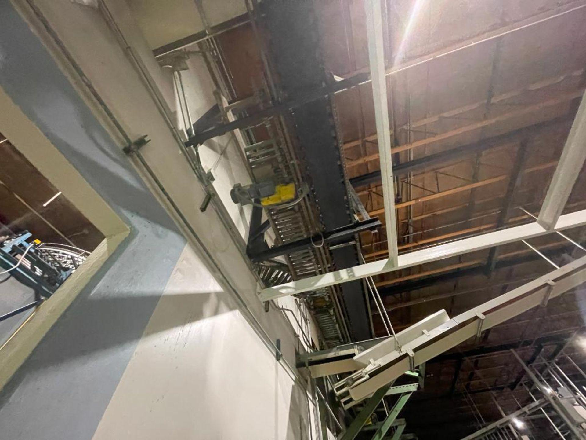270 ft. of mild steel power roller and power belt overhead conveyor - Image 2 of 12