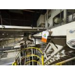 2 Aseeco horizontal overhead mild steel belt conveyors