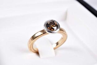 NOOR Moderner Solitär-Diamant-Ring NOOR EXCLUSIVE - Eternity, 750 Rotgold / Weißgold