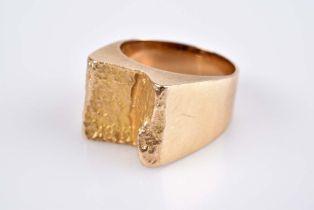 Ausgefallener Designerring - Goldschmiedeanfertigung GG 585, 11,2 g, gefaltet, mit Ham