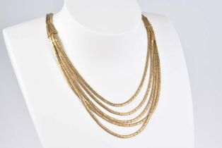 Mehrreihiges Gold Colier GG 750, 62 g, aus feinen strukturierten Gliedern, L 44 cm, St