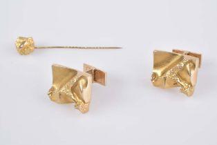 Paar Manschettenknöpfe + Reversnadel - Goldschmiedeanfertigung GG 585, Gesamtgewicht