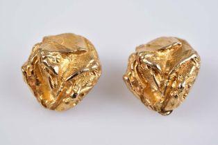 Paar Gold-Nugget Ohrclips - Goldschmiedeanfertigung GG 585, 10,9 g, D ca. 15 mm, mit M