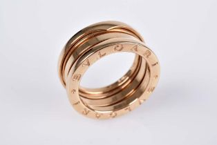 BULGARI B.Zero 1 Ring 4-Band Ring, 18 Karat Rotgold, seitl. mit umlaufendem Schriftzug