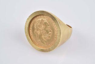 Schwerer Münzring mit Golddukat Franz Joseph Fassung GG 750, 11,5 g, Österreich, Por