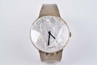 Damenarmbanduhr mit Münzblatt Silber 835, Armband und Rückendeckel jeweils gestempel