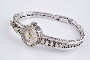 EPECA Brillant-Damenarmbanduhr INCABLOC, 750 Weißgold, zus. ca. 0,55 ct , Handaufzug,