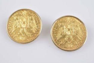 Paar Ohrclips mit Golddukat Franz Joseph GG 750, 10,2 g, Österreich, Portrait - Kaise