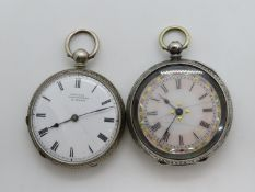 2x silver ladies pocket watches