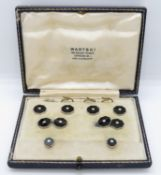 Collection of platinum and diamond studs and cufflinks by Wartski of London with leather box